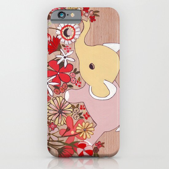 Elephant in the flowers iPhone & iPod Case