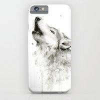 Wolf Howling Watercolor Wildlife Painting iPhone 6 Slim Case