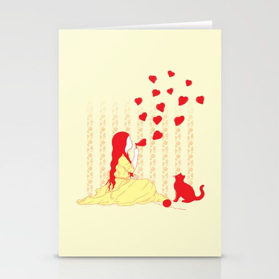 Bubbly Hearts Stationery Card