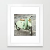 Mint Moto - Bruges Belgium Photography Framed Art Print