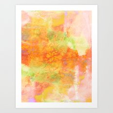 PASTEL IMAGININGS 3 Colorful Pretty Spring Summer Orange Yellow Peach Abstract Watercolor Painting Art Print