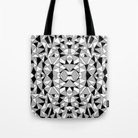 Ab Lines Tile with Black Blocks Tote Bag