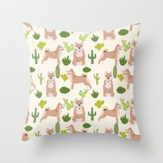 Shiba Inu dog breed pet portrait unique pet friendly must have gifts accessories cactus dogs pets Throw Pillow
