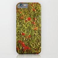 iPhone & iPod Case featuring Sommerfeld MIT roten und blauen Blumen by pASob
