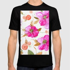 All-Pink Double Spring Floral Mens Fitted Tee Black SMALL