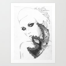 Mask girl Art Print