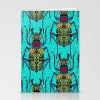 Flower Beetle Turquoise Stationery Cards