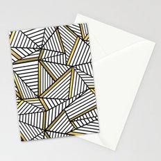 Ab Lines 2 White Gold Stationery Cards