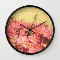 Little Pink Flowers Wall Clock