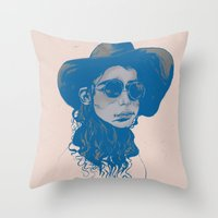 Woman in Hat and Sunglasses Throw Pillow