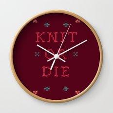 Knit or Die Wall Clock