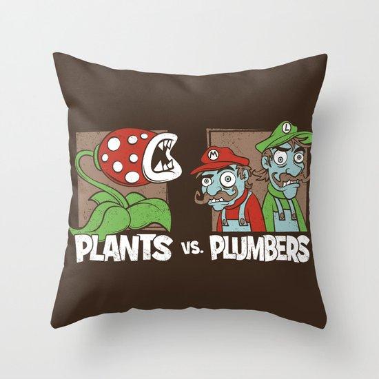 Plants Vs Plumbers  Throw Pillow