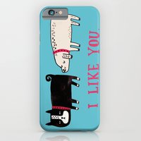 turquoise iPhone & iPod Cases featuring I Like You. by gemma correll
