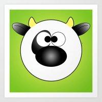 Moo Moo Cow Ball Art Print