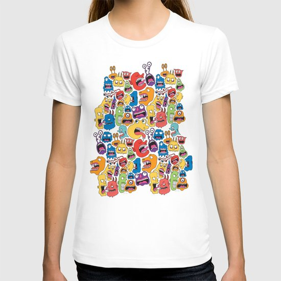 Monster Faces Pattern T-shirt
