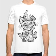 MAD BALD CAT Mens Fitted Tee White SMALL
