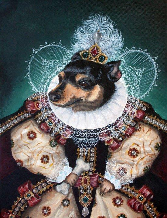 Sophia the Miniature Pinscher as Queen Elizabeth Art Print