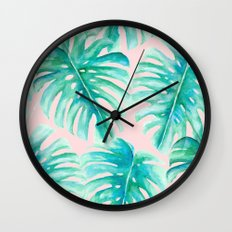 Paradise Palms Blush Wall Clock