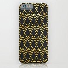 Art Deco Diamond Teardop - Black & Gold iPhone 6s Slim Case