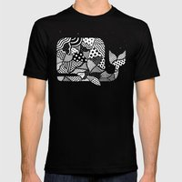 Patchwork Whale Mens Fitted Tee Black SMALL