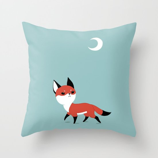 Moon Fox Throw Pillow