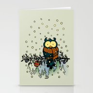 Owl In The Snow V2 Stationery Cards