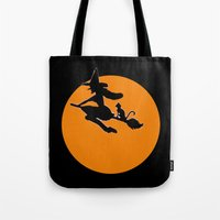 Flying Witch With Cat Tote Bag