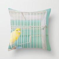 Yellow Bird Against Turq… Throw Pillow