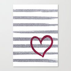 Red Heart on Shiny Silver Stripes Canvas Print