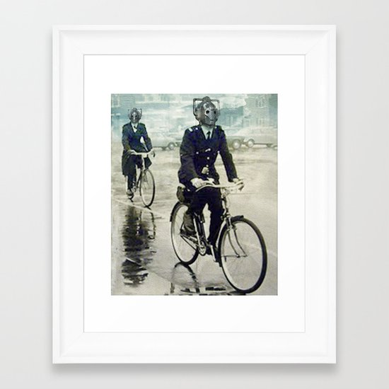 Cybermen on bikes Framed Art Print