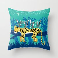 The Leopard and The Lemurs Throw Pillow