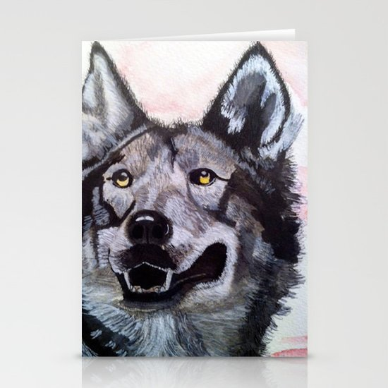 Wolf in Red Stationery Card