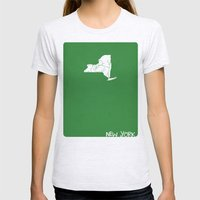 New York Minimalist Vintage Map Womens Fitted Tee Ash Grey SMALL