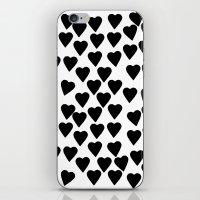 Hearts Black And White iPhone & iPod Skin
