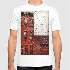 Rainy Day in Brooklyn White Mens Fitted Tee SMALL