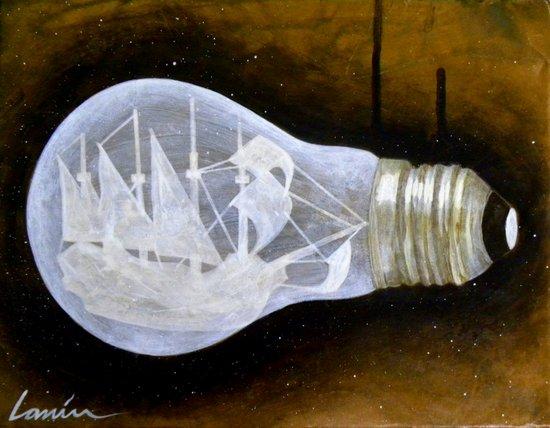 """""""Ship in a Lightbulb"""" Art Print"""