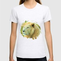LION AROUND Womens Fitted Tee Ash Grey SMALL