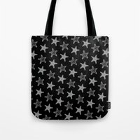 Starfish White on Black Tote Bag