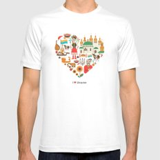I Love Ukraine SMALL Mens Fitted Tee White