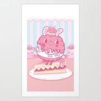 LULU Cake Bunny Girls Art Print