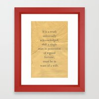 It is a truth universally acknowledged... Framed Art Print