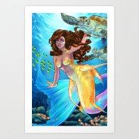 Hawaiian Mermaid Art Print