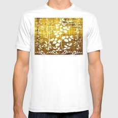 White leaves decor on golden background Mens Fitted Tee White SMALL