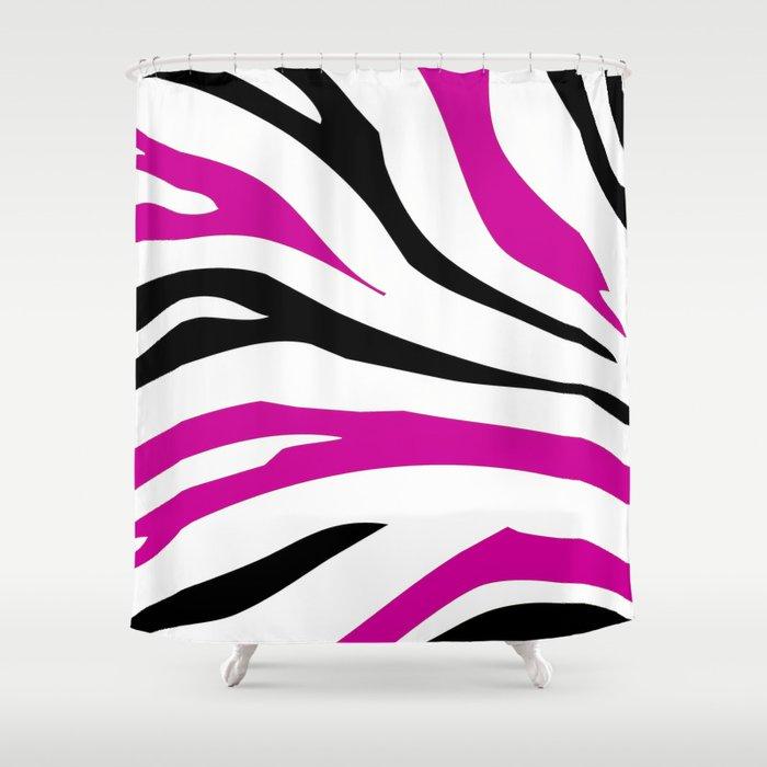Hot Pink Zebra Bathroom Accessories: Black And Hot Pink Zebra Stripes Print Shower Curtain By