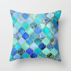 Cobalt Blue, Aqua & Gold… Throw Pillow