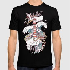 Whales and Waves MEDIUM Mens Fitted Tee Black