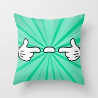 Floating Finger Sausage Throw Pillow