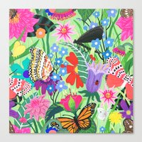 Butterfly and Moths Pattern - Green Canvas Print