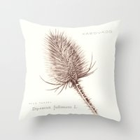 Wild Teasel botanical poster Throw Pillow