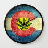 Retro Colorado State flag with the leaf - Marijuana leaf that is! Wall Clock